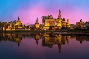 Фото Бангкок Храмы Вечер Отражение Phra Nakhon si Ayutthaya Города
