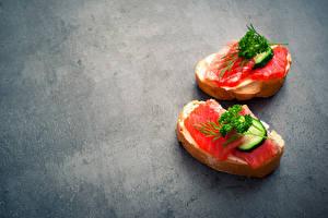 Картинка Бутерброды Рыба Хлеб Овощи Вдвоем