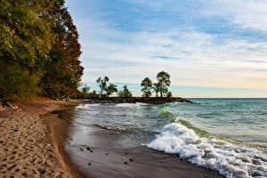 Фото Канада Побережье Озеро Волны Торонто Пляже beach Lake Ontario Природа