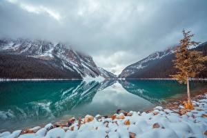 Фото Канада Озеро Парки Камень Гора Банф Снегу Дерева lake Louise Природа