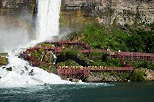 Картинка Канада Речка Водопады Утес Niagara
