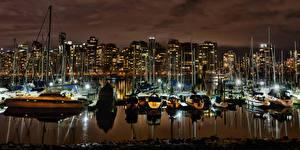 Обои Канада Ванкувер Залив Ночью город