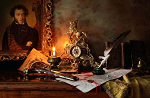 Фотографии Свечи Часы Пистолеты Перья Натюрморт Винтаж Картина Pushkin