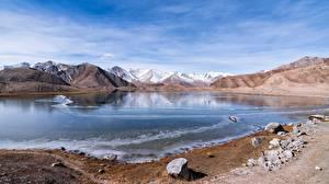 Обои Китай Гора Озеро Камни Mount Muztag ATA Природа