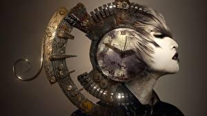 Фотографии Часы Циферблат Голова Фантастика