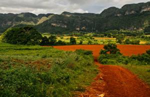 Фотографии Куба Горы Поля Трава Pinar del Rio Природа