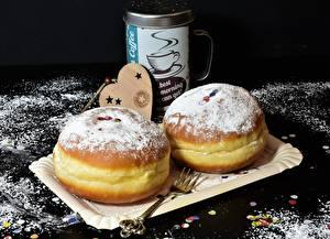 Фото Пончики Выпечка Сахарная пудра Вилка столовая Сердечко