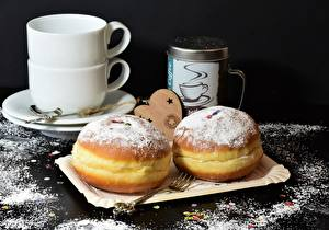 Фотография Пончики Сахарная пудра Вилки Чашке Еда