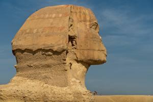 Обои Египет Голова Каменные Cairo, Sphinx
