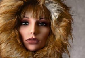 Фотография Глаза Губы Лицо Куклы Капюшоне Взгляд молодая женщина