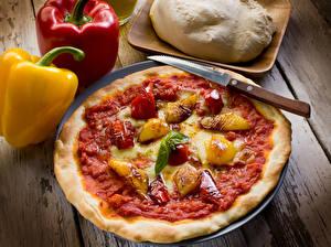 Фотографии Быстрое питание Пицца Перец Ножик