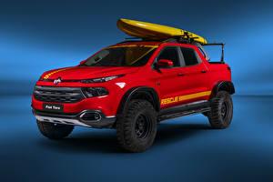 Картинки Fiat Красный Пикап кузов 2018-19 Toro Rescue автомобиль