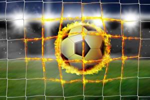 Фотография Футбол Огонь Мячик Сетка Спорт
