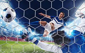 Фотография Футбол Мужчины Мячик Спортивная сетка Летят спортивная