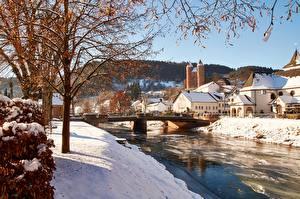 Фото Германия Мосты Речка Здания Зимние Деревьев Ветвь Снеге commune of Murlenbach, State Of Rhineland-Palatinate город