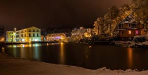 Фотография Германия Зима Здания Реки Вечер Cunewalde Города