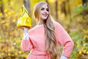 Фотографии Сумка Блондинки Улыбка Волосы девушка