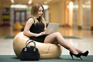 Фотография Сумка Сидящие Ноутбуки Туфли Ноги Девушки