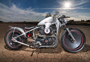 Картинки Harley-Davidson Пустыни Сбоку Колеса мотоцикл