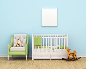 Картинки Интерьер Детская комната Игрушки Дизайна Кровате Кресло