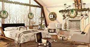 Картинки Интерьер Дизайн Спальня Кровать 3D Графика