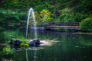 Обои Япония Реки Мосты Камни Numata Природа