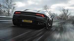Фото Lamborghini Forza Horizon 4 Вид сзади Движение Huracan Игры Автомобили