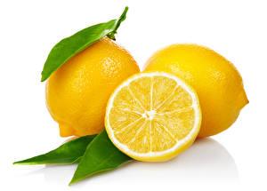 Картинки Лимоны Крупным планом Белый фон Продукты питания