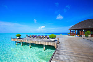 Обои Мальдивы Курорты Море Дома Природа