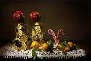 Картинка Мандарины Лимоны Сладкая еда Дизайна