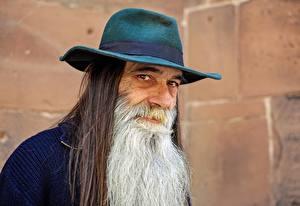 Фотографии Мужчина Старик Шляпа Борода Взгляд