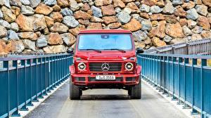Картинки Mercedes-Benz Гелентваген Спереди Красный G 350 d AMG Line Автомобили