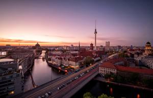 Обои Утро Германия Берлин Дороги Дома Реки Города