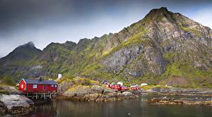 Обои Норвегия Лофотенские острова Горы Дома Залив