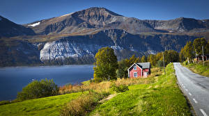 Фотография Норвегия Горы Реки Дороги Дома Ullsfjorden Природа