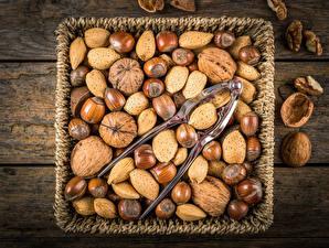 Обои Орехи Много Фундук Грецкий орех Миндаль Корзинка Продукты питания