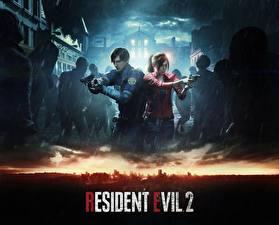 Картинка Пистолет Зомби Resident Evil 2 2019 Полицейские Leon Kennedy, Claire Redfied Девушки
