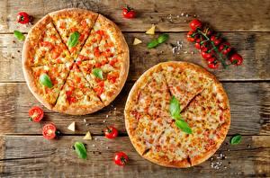 Обои Пицца Томаты Вдвоем Базилик душистый Еда