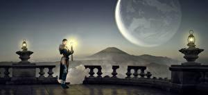 Фото Планета Маг волшебник Лампа Ночь Фэнтези 3D_Графика Девушки