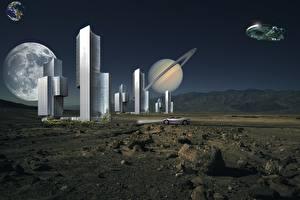 Фотография Планеты Поверхность планеты Небоскребы Камни Звездолёт Фэнтези