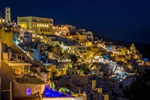 Фотография Тира Здания Греция Ночью город