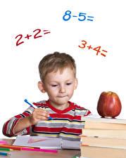 Картинка Школьные Яблоки Мальчики Шариковая ручка