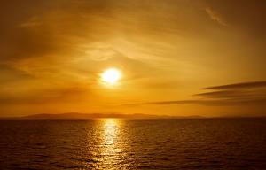Обои Море Рассветы и закаты Небо Природа