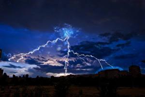 Фотографии Небо Ночные Молния Облака