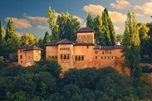 Обои Испания Замки Крепость Alhambra, Granada Города