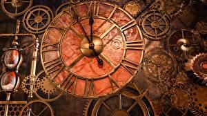Фотографии Паропанк Часы Циферблат Шестерня