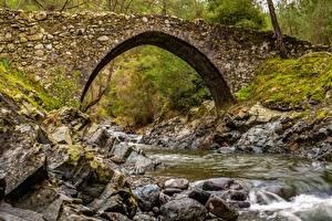 Фотография Камни Мосты Мох Арка Ручей Природа