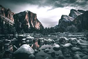 Фото Камень Реки Гора США Пейзаж Йосемити Калифорнии Снег Скале