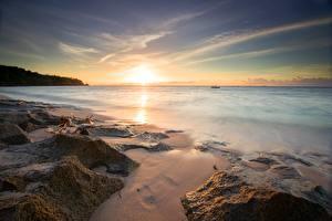 Фотографии Рассветы и закаты Берег Камни Горизонта