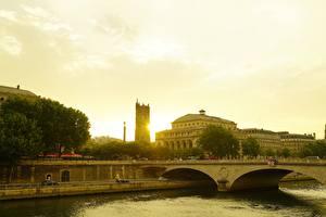 Картинки Рассветы и закаты Франция Дома Речка Мосты Париж river Seine
